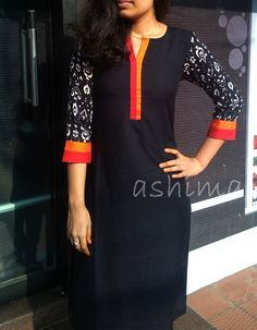 Kurta With Printed Sleeve- Price Salwar Pattern, Kurta Patterns, Dress Patterns, Neckline Designs, Dress Neck Designs, Blouse Designs, Indian Attire, Indian Wear, Indian Outfits