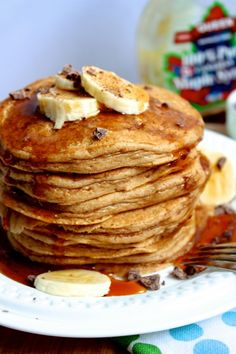 Healthy Wholewheat Peanut Butter Pancakes  Light and fluffy pancakes that are just subtly sweet with the perfect peanut butter punch