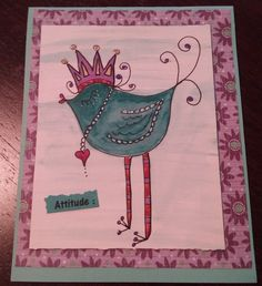 A Royal Greeting ; Original ink, watercolor, glitter, birthday,  Crown, glitter, bling, note card. by PamBlohm on Etsy