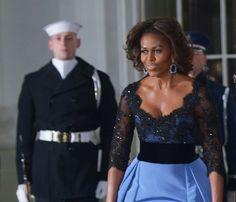Michelle Obama stuns in blue Carolina Herrera gown at 2014 State dinner. #FLOTUS
