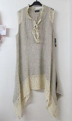 Sarah Santos Lagenlook Beige Linen Lace Tunic Summer Dress Layered Oversized New | eBay