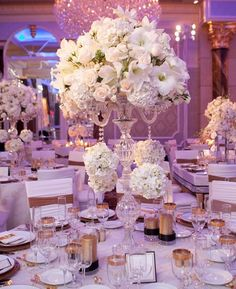 Luxury white formal wedding flower centerpiece