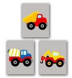 Construction Trucks Vehicles Set of 3 Gray Chevron Boys Bedroom Decor Kids Room Printable Wall Art 8x10 Instant Download JPEG Files 147(abc) on Etsy, $15.00