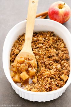 This simple, flourless Warm Apple Crisp recipe features tender, juicy apples under a crunchy brown sugar-oat topping. The perfect fuss-free fall dessert.