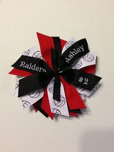 Items similar to Personalized Volleyball Team Ribbon Spike Hair Bow with Triple Embroidery-Small on Etsy Volleyball Hair Bows, Volleyball Bows, Volleyball Hairstyles, Volleyball Memes, Volleyball Outfits, Beach Volleyball, Hair Ribbons, Ribbon Bows, Fashion Models