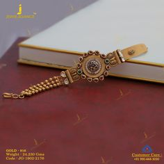 A beautiful bracelet perfect for you. Get in touch with us on Gold Bangles Design, Gold Jewellery Design, Gold Jewelry Simple, Simple Necklace, Necklace Set, Hand Jewelry, Gold Accessories, Antique Jewelry, Antique Gold
