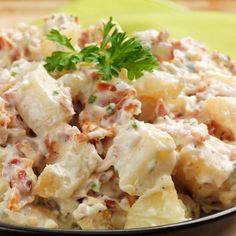 Salade Piémontaise facile – Ingrédients de la recette : 250 g de jambon en épaule, 4 pommes de terre chair ferme type charlotte, 3 oeufs, 8 gros cornichon, 2 tomates fermes