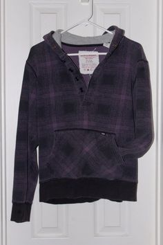 Faded Purple Plaid Pull-over Sweatshirt hoodie - men's size M - Cotton poly #UnionBay #Hoodie