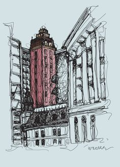 Old downtown Sao Paulo by Werner Cunha, via Behance Skyscraper, Old Things, Behance, Illustrations, Street, Cunha, Skyscrapers, Illustration, Walkway