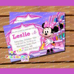 Minnie Mouse Bowtique Invitation Invitations Birthday Party DIGITAL File Printable Piy 4x6 999 Via