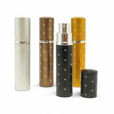 """Pack de 4 perfumeros spray vacíos, modelo""""Diamantes"""", cada pack dispone de una unidad Oro, plata, Negro y Marrón."""