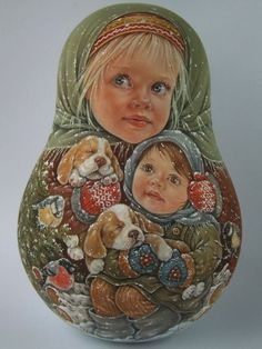 I am always fond of painting portraits, trying to transmit not only the similarity,but also the character and mood that's why you can find not only joy,but also astonishment,tender emotion,pensiveness and gentleness in the faces of my nesting dolls. | eBay!
