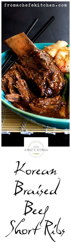 Korean Braised Beef Short Ribs are buttery and fall-off-the-bone tender! Slightly spicy, slightly sweet and totally delicious! Rib Recipes, Asian Recipes, Cooking Recipes, Atkins Recipes, Asian Desserts, Asian Foods, Cookbook Recipes, Quick Recipes, Diabetic Recipes