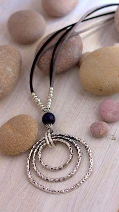 Silver Rings Pendant Women Necklace Uno de 50 style Multi Loop