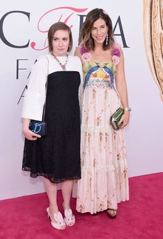 Pin for Later: It's Not #TuesdayShoesday Yet, but Lena Dunham's Heels Could Inspire Their Own Hashtag  Lena arrived with jewelry designer Irene Neuwirth, who's nominated for a CFDA Award.