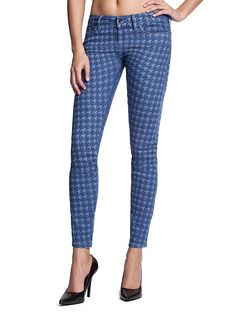Brittney Skinny Ankle Jeans with Houndstooth Print | GUESS.com