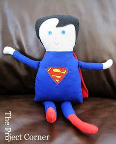 The Project Corner: Black Apple Dolls and Superman Doll FREE sewing pattern for pillow pal or stuffed doll / plush superhero