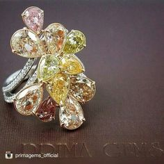 Fancy Colored Diamonds Ring. Prima Gems.