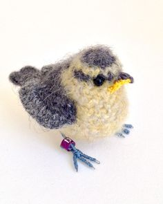 Baby bluetit crochet bird art sculpture by Jose Heroys Fibre Artist Crotchet Patterns, Amigurumi Patterns, Crochet Birds, Crochet Animals, Bird Sculpture, Sculptures, Crochet Rabbit Free Pattern, Art And Craft Materials, Fabric Birds