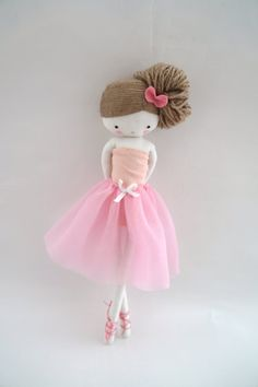 Made to order! Note doll could be a bit different.  plié... pirouette...  the pretty ballerina begins her class of dance 1 2 3...  plié... pirouette...    cute rag doll ballerina 26 cm(10 in) 100% handmade  ♥ ♥ ♥