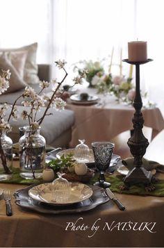 夜桜イースターのテーブル☆Easter and cherryblossom,dining table,flower arrengement,jewelry salon - 2015.03