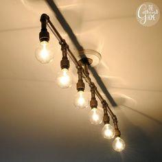 Pipe Floor Lamp 4-fixture Living Room Steampunk Mason Jar by ...