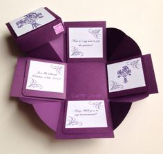 """The exploding box favour created in eggplant purple and white. """"Will you be my bridesmaid?"""" Love! ❤️ www.cutncreate.com http://facebook.com/CutnCreate"""