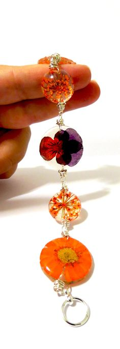 Orange and Purple Wire Wrapped Resin by caughtREDhandedTOO on Etsy, $38.00