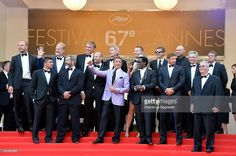 Actors Glen Powell, Kelsey Grammer, Dolph Lundgren, Harrison Ford, director Patrick Hughes, actors Antonio Banderas, Randy Couture (Front L-R) Victor Ortiz, Mel Gibson, Jason Statham, Sylvester Stallone, Ronda Rousey, Wesley Snipes, Kellan Lutz, guest and producer Avi Lerner attend 'The Expendables 3' premiere during the 67th Annual Cannes Film Festival on May 18, 2014 in Cannes, France.