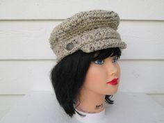 Crochet Brim Hat Knit Beanie Winter Hat Button by Ritaknitsall