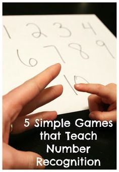 "5 simple games for number recognition. It's like the rock paper scissors game except we say, ""Rock, paper, number!"" and each player holds up as many fingers as they want. Then we count all the fingers and point to the correct number written on the sheet of paper."