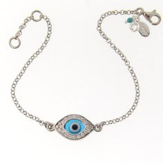 Lucky Evil Eye Bracelet As Seen On Kim Kardashian And Kelly Ripa - NEW - Celebrity Style, Sterling Silver. $48.95, via Etsy.