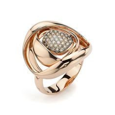K di Kuore - Pave Diamond Origami Ring | 18k rose gold ring with 28 brown diamonds, 0.27 carats total, adorning the band. Available at http://www.ForeverGolden.com.
