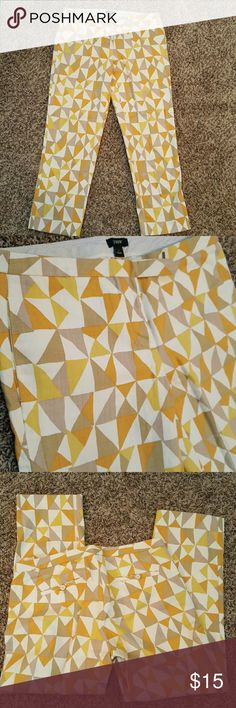 """⬇LOWEST J. Crew geometric capri Adorable geometric patterned capri. 100% cotton. City Fit cut/style. In great shape other than small discoloration in last photo. Can't see it when worn with this pattern. 24"""" inseam. NO TRADES. J. Crew Pants Capris"""