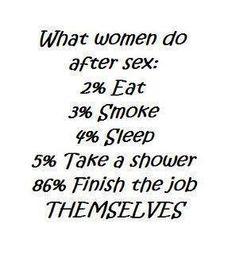 Ce que les femmes font après le sex:  2% mangent  3% fument  4% dorment  5% prennent un bain  86% finissent la job elles-mêmes!