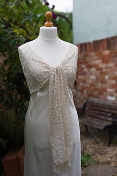 Mulberry silk bride's shawl in crocheted lace, available from http://www.thecrimsonrabbit.co.uk/
