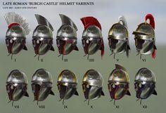 Late Roman 'Burgh Castle' Helmet Varients, Robbie McSweeney on ArtStation at https://www.artstation.com/artwork/GmJlB