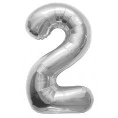 Helium ballon cijfer 2 zilver. Een zilverkleurige folie ballon in de vorm van het cijfer 2. De ballon wordt gevuld met helium bij u bezorgd. De ballon is opgeblazen ongeveer 86 cm groot. Deze folie ballon wordt gevuld met helium geleverd en kan derhalve niet worden geretourneerd.