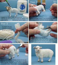 Sheep wool tutorial by leola - 2019 - wool diy - Animal animals! Sheep wool tutorial by leola You are in the right place about seashell crafts Here - Needle Felted Animals, Felt Animals, Plastic Animals, Foam Crafts, Diy And Crafts, Simple Crafts, Dollhouse Tutorials, Needle Felting Tutorials, Miniature Crafts