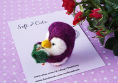 Needle felted Penguin with book  purple  perfect gift di SoftCute