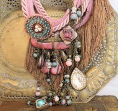 Chunky Boho Coutour Pink and Blue Statement Necklace by jani, $165.00