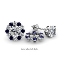 These Pleasant Jackets have 12 Round Blue Sapphire and 12 Round Diamond beautifully set using Prong Setting which decorates your own favourite pair of Stud Earrings.To wear,simply slip your Round Solitaire Stud through the Jackets. EXTRA OFF Tiny Gold Hoop Earrings, Star Earrings, Crystal Earrings, Diamond Earrings, Jacket Earrings, Diamond Studs, Halo Diamond, Black Diamond, Diamond Earring Jackets