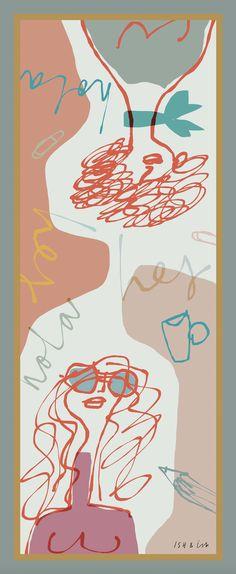 Hej Hola Faces - ISH & ish Silk Scarves Collection - collaboration between Danish designer Bibi Klamer & Spanish illustrator Mercedes Leon