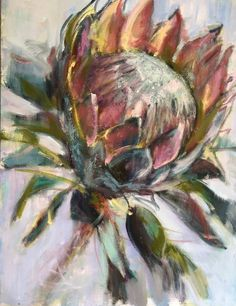 Protea Art, Protea Flower, Abstract Flowers, Watercolor Flowers, Watercolor Paintings, Art Drawings For Kids, Art Drawings Sketches, Australian Art, Flower Art