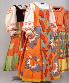 From Left To Right: Costume for a female subject in 'King Dodon'; for a peasant girl in 'King Dodon', and for a nursemaid in 'King Dodon' (1937). Designer: Natalia Goncharova.