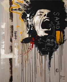 Jean Michel Basquiat (1960-1988) was een Amerikaans neo-expressionistisch (en van oorsprong graffiti)-kunstenaar. Zijn eerste solotentoonstelling in 1982 werd meteen een groot succes.Hij werkte enige tijd aan gezamenlijke schilderijen met zijn grote voorbeeld Andy Warhol. Verguisd en geliefd in de kunstwereld is Basquiat op zeer jonge leeftijd door een overdosis aan zijn einde gekomen