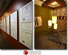 Dental Diplomas and certifications, stone wall, original artwork, hanging pendant lighting chandelier, slate stairs, and glass bannister staircase at Cambridge Office Location of Coronation Dental Specialty Group