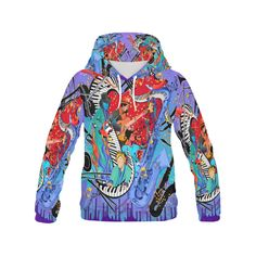 f0243da12 Cool Music Hoodie Jazzy Blues by Juleez All Over Print Hoodie for Men (USA  Size) (Model H13)