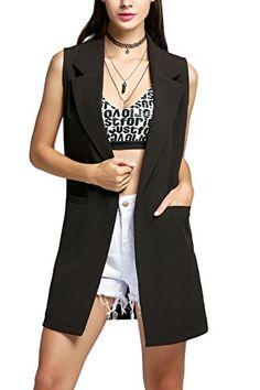 a88561061fc25e Elesol Women s Casual Sleeveless Oversized Open Longline Duster Blazer  Jacket Coat Black L Blazer Vest