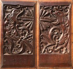 Rare Pair of Mid 16th Century English Antique Carved Oak Panels, Circa 1540, Depicting Naive but Quite Ferocious Fish!